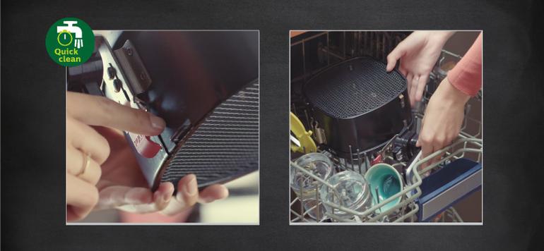 Der Korb sowie die weiteren Einzelteile lassen sich einfach reinigen – sogar in der Spülmaschine. Der integrierte Luftfilter sorgt dafür, dass keine unangenehmen Gerüche zurückbleiben.