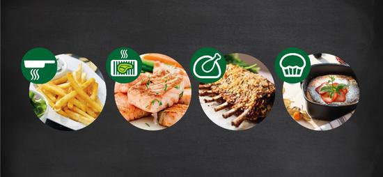 Sie können damit Frittieren, Grillen, Garen und Backen. Es gibt außerdem vier Voreinstellungen für die beliebtesten Gerichte auf Knopfdruck: Pommes, Hähnchenkeulen, Fisch und Fleisch.