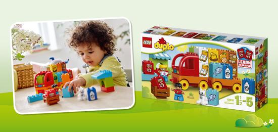 """Das LEGO DUPLO Set """"Mein erster Lastwagen"""" bringt Kleinkindern das Thema Fahrzeuge näher und lässt sich dank bedruckter Bausteine mit spannenden und lustigen Merkspielen verbinden."""
