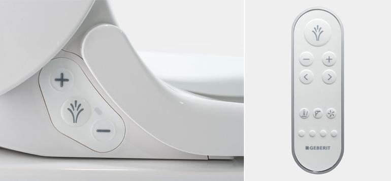 Über seitliche Bedienelemente oder die Fernbedienung sind die Stärke des Duschstrahls sowie die Wassertemperatur individuell einstellbar.