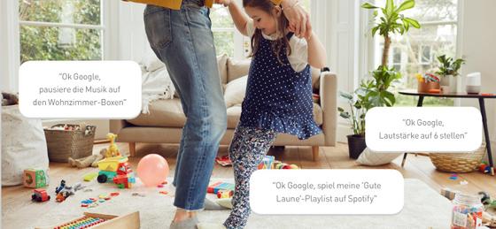 Mit Google Home lässt sich Ihre eigene Musik abspielen, pausieren oder die Laustärke regeln.