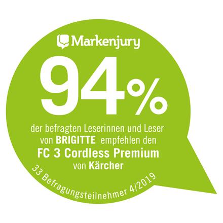 Das Urteil der Markenjury zum Kärcher FC 3 Cordless Premium.