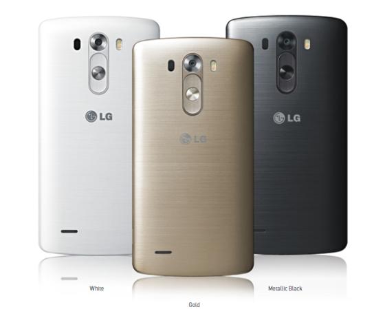 Das neue LG G3 Smartphone ist in den Farben Metallic Black, Gold und White erhältlich.