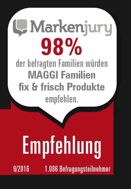 Markenjury Siegel für die neuen MAGGI Familien Fixe