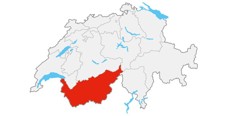 Die Region Wallis liegt im Südwesten der Schweiz.