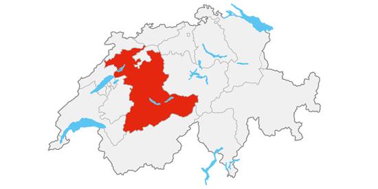 Die Region Bern-Berner Oberland auf der Schweiz-Karte.