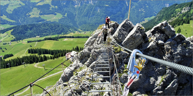 Das letzte Stück des Klettersteiges Brunni, Luzern