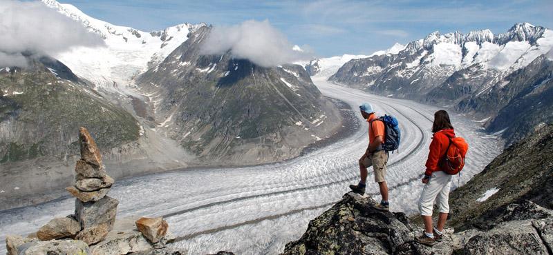 Der beeindruckende Aletschgletscher liegt in der Region Wallis.