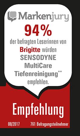 94% empfehlen SENSODYNE MultiCare Tiefenreinigung