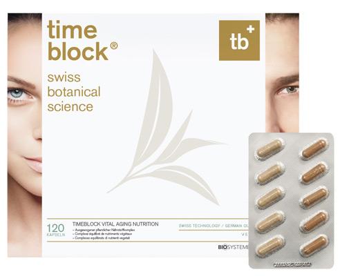 Die timeblock<sup>&reg;</sup> Nahrungsergänzung ist ein maßgeschneiderter Anti-Aging Nährstoffkomplex zur optimalen Unterstützung der Zellregenerierung. Sie hemmt den Alterungsprozess da, wo er beginnt: in der DNA – und bewahrt so die frische Jugendlichke