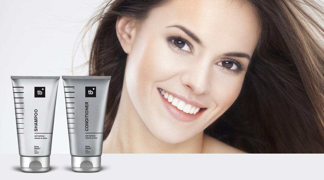 timeblock® Hair Care wirkt Haarverlust entgegen, stärkt das Haar an der Wurzel, reinigt mild und verleiht Volumen, Geschmeidigkeit und Glanz.