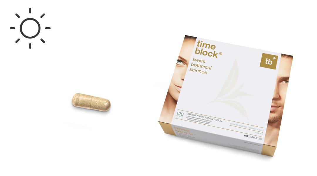 Tagsüber sorgen die Nährstoffe in timeblock®  Vital Aging Nutrition Day für Vitalität, Strahlkraft und Schutz vor Umwelteinflüssen.